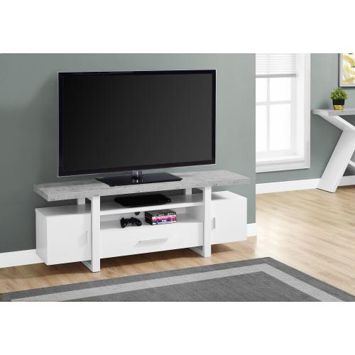 """Gallery - TV STAND - 60""""L / WHITE / CEMENT-LOOK TOP"""