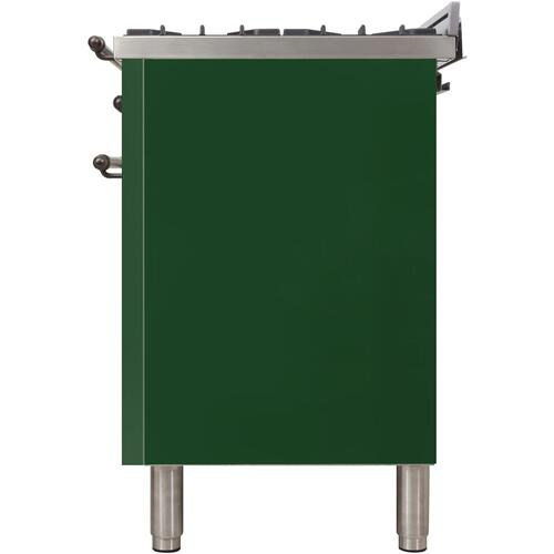 Ilve - Nostalgie 40 Inch Dual Fuel Liquid Propane Freestanding Range in Emerald Green with Bronze Trim