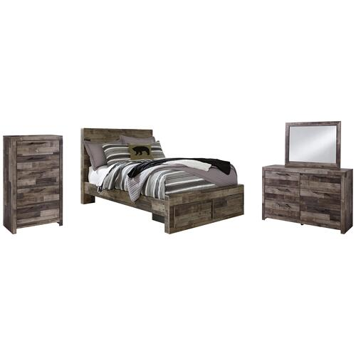 Ashley - Full Panel Bed With 2 Storage Drawers With Mirrored Dresser and Chest