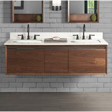 """See Details - M4 60"""" Double Bowl Wall Mount Vanity - Natural Walnut"""