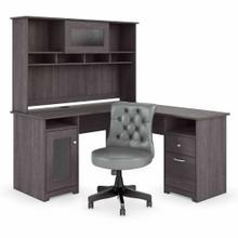 See Details - 60W L Shaped Desk with Hutch and Mid Back Tufted Office Chair, Heather Gray