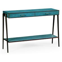 Teal Faux Shagreen and Bronze Legged Console
