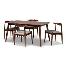 See Details - Baxton Studio Aeron Mid-Century Modern Light Gray Fabric Upholstered Walnut Finished Wood 5-Piece Dining Set