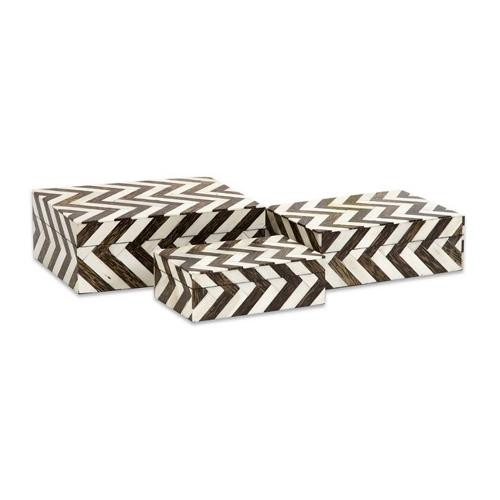 A & B Home - S/3 Zig Zag Bone Inlay Boxes
