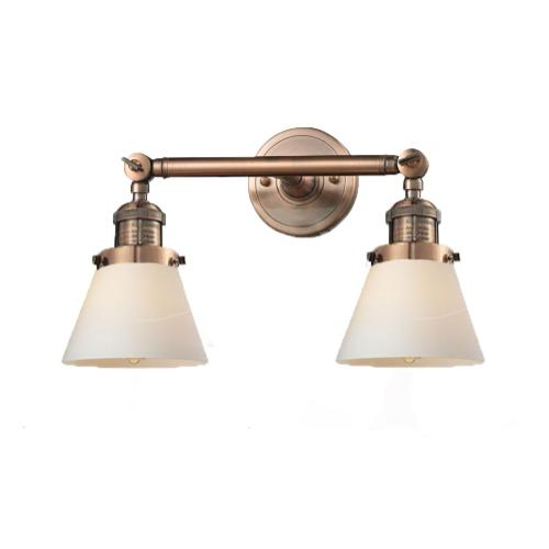 208-AC-G61 - SMALL GLASS CONE 2 LT WALL SCONCE