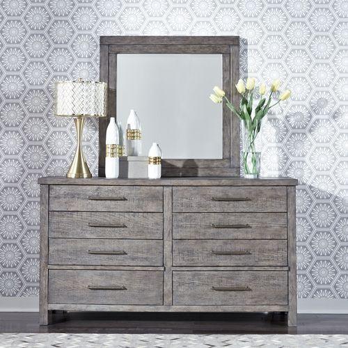 Queen Platform Bed, Dresser & Mirror, Chest, Night Stand