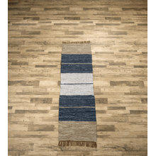 See Details - Blue Striped Leather Chindi 2x6 Rug (Each One Will Vary)