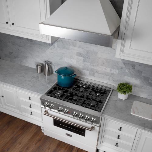 ZLINE DuraSnow® Stainless Steel Range Hood With White Matte Shell (8654WM) [Size: 36 Inch]