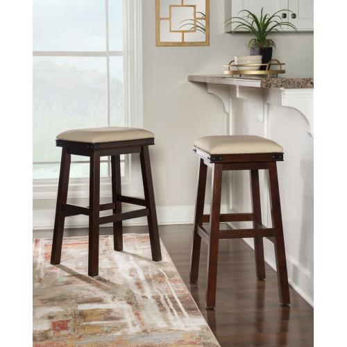 Upholstered Seat and Backless Barstool, Espresso