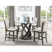 See Details - Cicicol 5 Piece Glass Top Counter Height Dining Table with Chairs, Gray