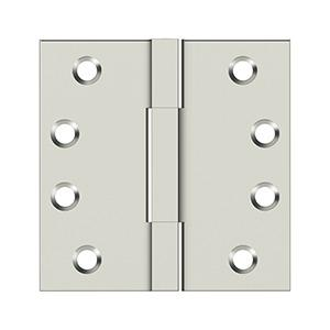 """Deltana - 4""""x 4"""" Square Knuckle Hinges, Solid Brass - Polished Nickel"""