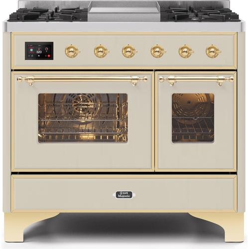 40 Inch Antique White Dual Fuel Liquid Propane Freestanding Range