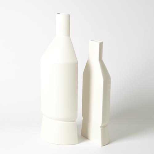 Flat Back Vase-Matte White-Med