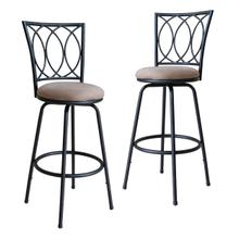 Redico Bar/ Counter Height Adjustable Powder Coated Metal Barstools, Set of 2, Black