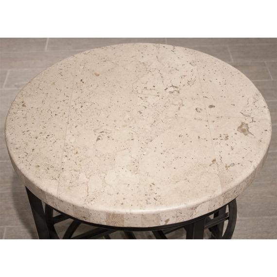 Riverside - Capri - Round Side Table - Alabaster Travertine Finish