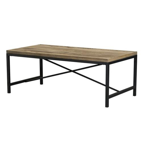 Standard Furniture - Silas 3-Pack Accent Tables, Light Brown Distressed Top with Black Metal Base