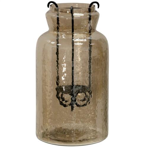 Hurricane Tea Light Jar  15In Rippled Glass & Metal Drop Tea Light Candle Holder