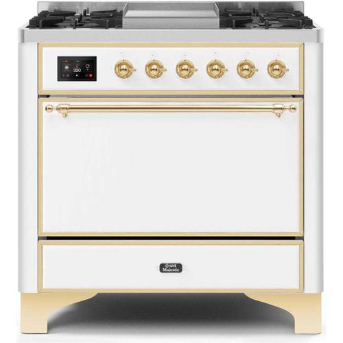 Gallery - Majestic II 36 Inch Dual Fuel Natural Gas Freestanding Range in White with Brass Trim