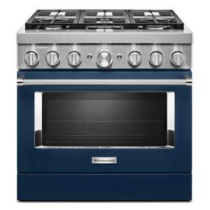 KitchenAidKitchenAid® 36'' Smart Commercial-Style Dual Fuel Range with 6 Burners - Ink Blue