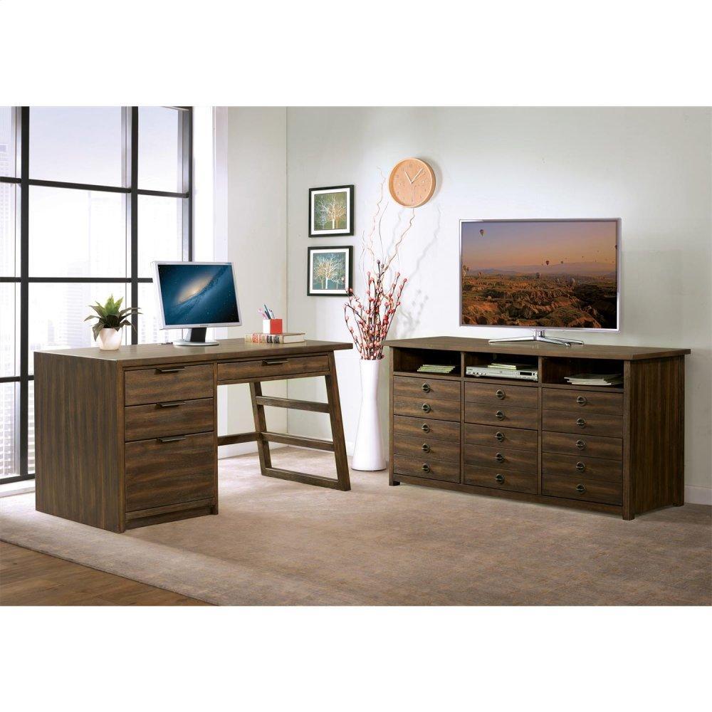 See Details - Perspectives - Single Pedestal Desk - Brushed Acacia Finish