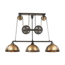 See Details - Torque 3-Light Island Light in Vintage Brass and Rust with Metal Shade