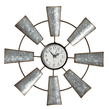Small Galvanized Windmill Wall Clock