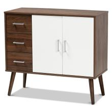 See Details - Baxton Studio Leena Mid-Century Modern Two-Tone White and Walnut Brown Finished Wood 3-Drawer Sideboard Buffet