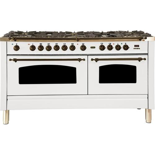 Nostalgie 60 Inch Dual Fuel Natural Gas Freestanding Range in White with Bronze Trim
