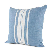 Brigitta 20L x 20W Blue and Cream Fabric Striped Decorative Pillow Cover