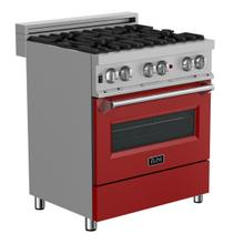 ZLINE 30 in. Professional Dual Fuel Range in DuraSnow® Stainless Steel with Red Gloss Door (RAS-RG-30)