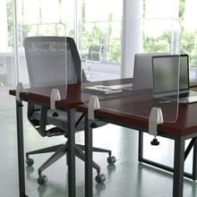 """Product Image - Clear Acrylic Desk Partition, 18""""H x 23""""L (Hardware Included)"""