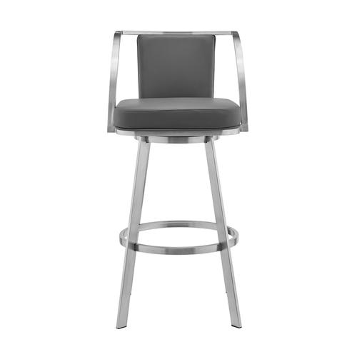 """Armen Living - Livingston 26"""" Gray Faux Leather and Brushed Stainless Steel Swivel Bar Stool"""
