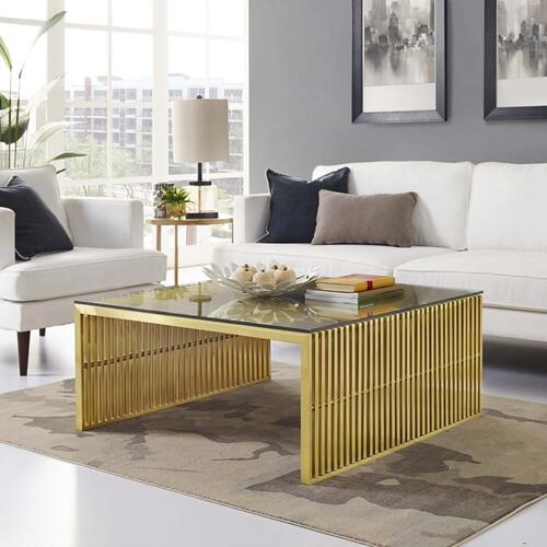 Modway - Gridiron Stainless Steel Coffee Table in Gold