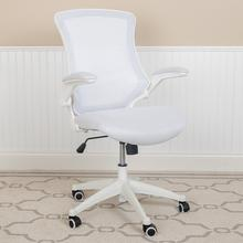 See Details - Mid-Back White Mesh Swivel Ergonomic Task Office Chair with White Frame and Flip-Up Arms