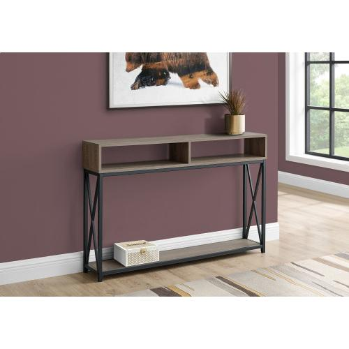 """Gallery - ACCENT TABLE - 48""""L / TAUPE / BLACK METAL HALL CONSOLE"""