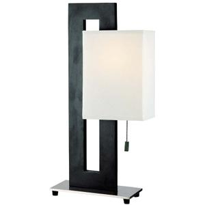 Table Lamp, Black/ps/white Fabric Shade, E27 Cfl 23w