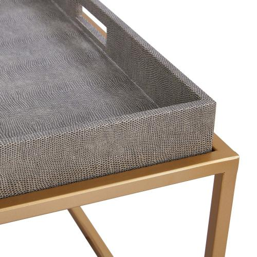 Feyre Faux Shagreen Removable Tray Coffee Table, Chronicle Gray