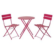 Folding 3pc Metal Table and Chairs Set In Rose Red