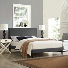 View Product - Amaris King Fabric Platform Bed with Squared Tapered Legs in Gray