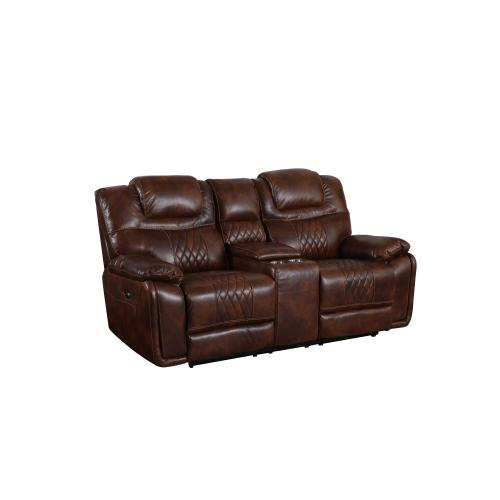 Power Dual Reclining Loveseat w/Center Console & Cup Holders - Brown Leather Gel (ZY5018A Collection)