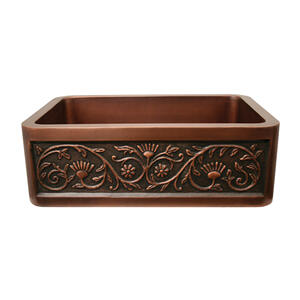 """Copperhaus rectangular undermount sink with a sunflower design front apron and a 3 1/2"""" center drain - 14 gauge copper sink Product Image"""
