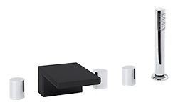 Otella 5-Hole Deck Mount Tub Filler R+S Chrome/Black