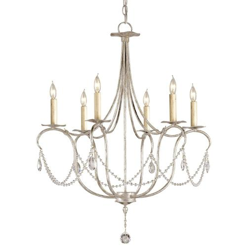 Currey & Company - Crystal Lights Silver Small Chandelier