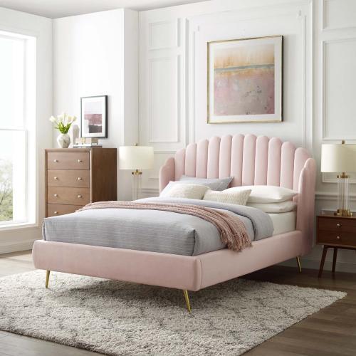 Lana Queen Performance Velvet Wingback Platform Bed in Pink