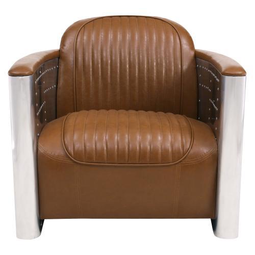 Easton PU Accent Arm Chair Aluminum Frame, Distressed Caramel