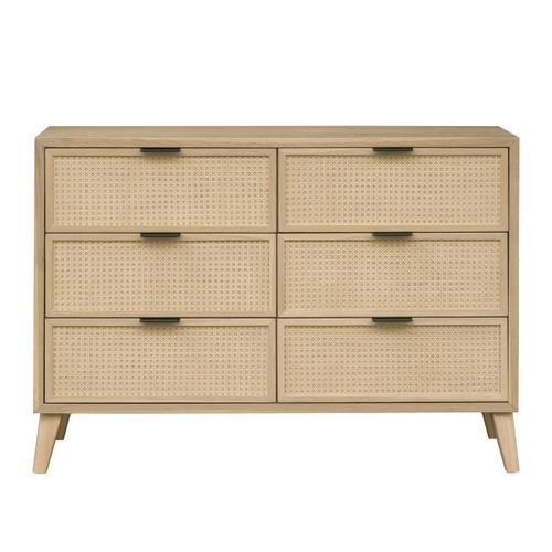 Cane Six Drawer Dresser