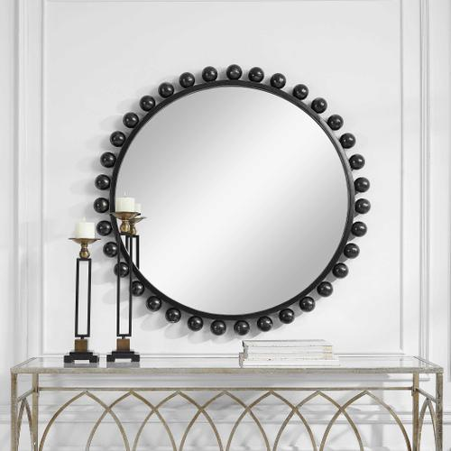 Cyra Black Round Mirror