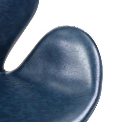 Beckett PU Swivel Accent Chair Chrome Legs, Distressed Blue