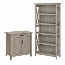 Key West Secretary Desk with Storage and 5 Shelf Bookcase - Washed Gray