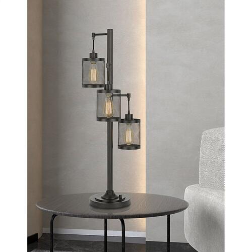 Cal Lighting & Accessories - 60W x3 Pacific metal table lamp with metal mesh shades with a base 3 way rotary switch